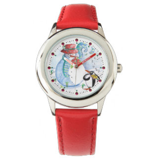 FUNNY SNOWMAN AND PENGUIN'S WINTER SERENADE WRIST WATCHES