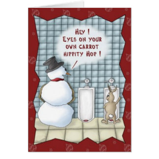 Funny Snowman Easter Bunny Christmas Card
