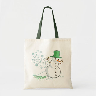 Funny Snowman Farts Snowflakes Budget Tote Bag