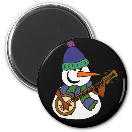 Funny Snowman Playing Banjo Artwork 2 Inch Round Magnet