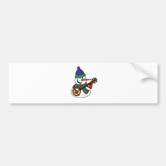 Funny Snowman Playing Banjo Artwork Bumper Sticker