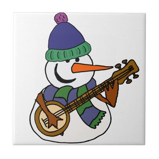 Funny Snowman Playing Banjo Artwork Ceramic Tiles