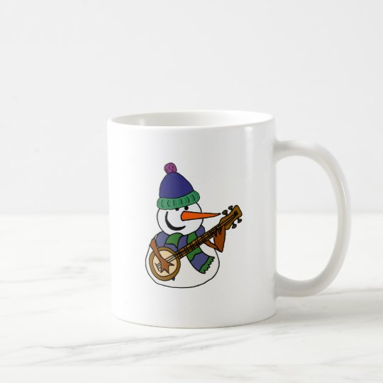 Funny Snowman Playing Banjo Artwork Coffee Mug