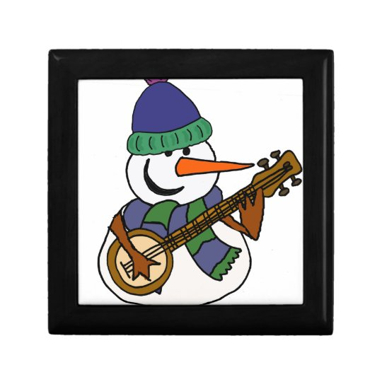 Funny Snowman Playing Banjo Artwork Gift Box