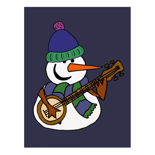 Funny Snowman Playing Banjo Artwork Postcard