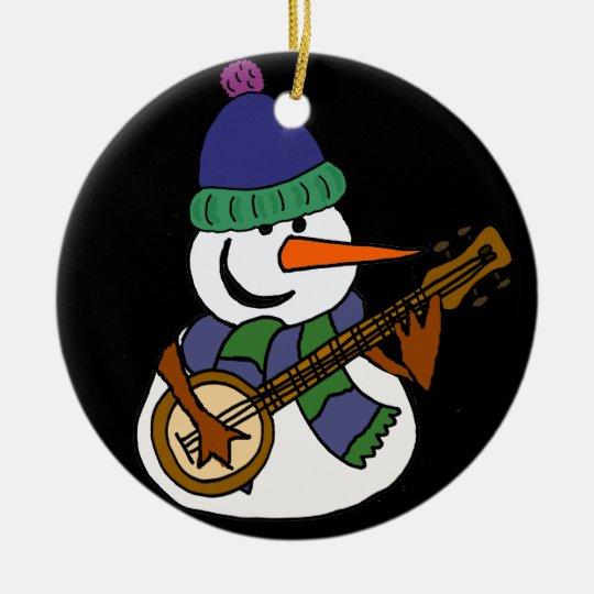 Funny Snowman Playing Banjo Artwork Round Ceramic Ornament