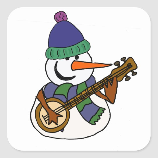 Funny Snowman Playing Banjo Artwork Square Sticker