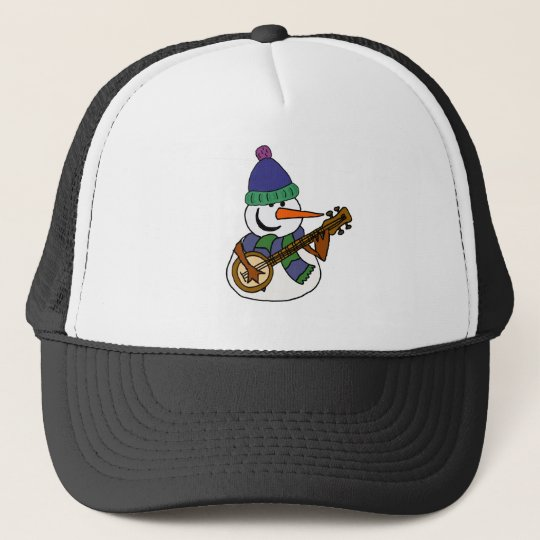 Funny Snowman Playing Banjo Artwork Trucker Hat