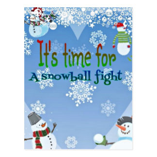 Funny Snowman Snowball Fight Christmas gifts Postcard