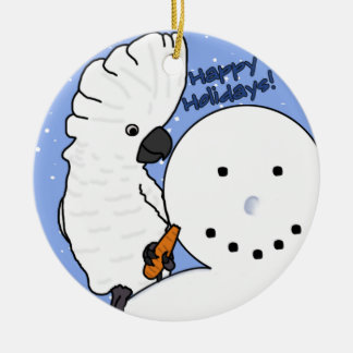 Funny Snowman Umbrella Cockatoo Ornament