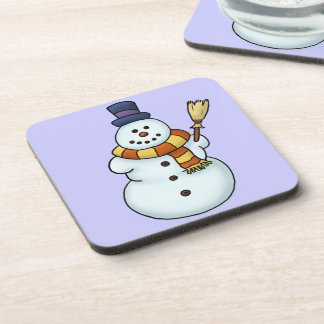 funny snowman winter holiday beverage coasters