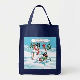 Funny Snowman with Hot Chocolate Cartoon Grocery Tote Bag