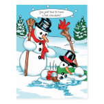 Funny Snowman with Hot Chocolate Cartoon Post Card