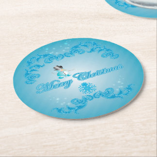 Funny snowman with soft blue background round paper coaster