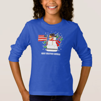 Funny Snowman with US flag Christmas Hoodie