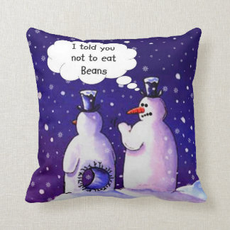 Funny Snowmen Cartoon Throw Pillow