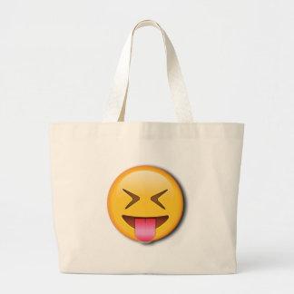Funny Social Emoji Large Tote Bag