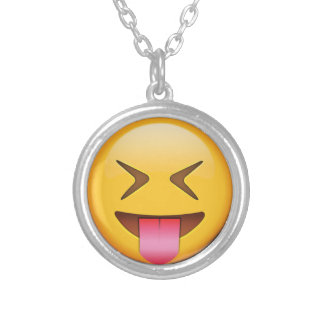 Funny Social Emoji Silver Plated Necklace