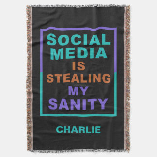 "Funny ""Social Media"" custom name throw blanket"