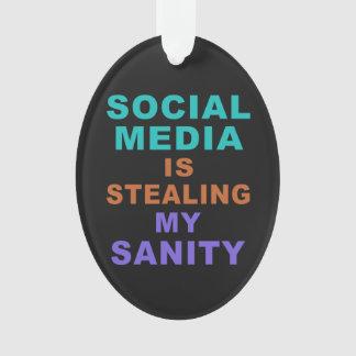 """Funny """"Social Media"""" custom ornament"""