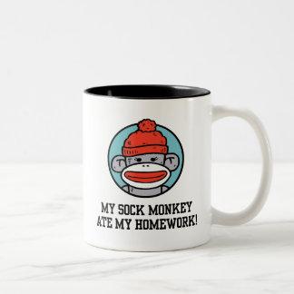Funny Sock Monkey Two-Tone Coffee Mug