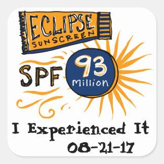Funny Solar Eclipse Sunscreen Square Sticker