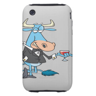 funny sophisticated bull cartoon tough iPhone 3 case