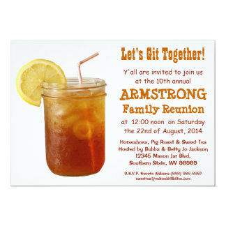 Funny Southern Family Reunion Sweet Tea 5x7 Paper Invitation Card