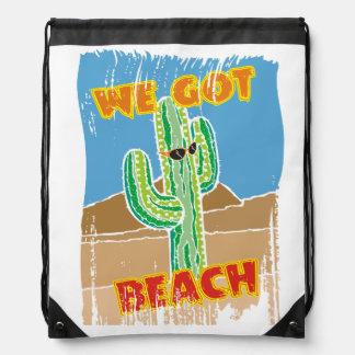 Funny southwestern desert cactus we got beach drawstring bag