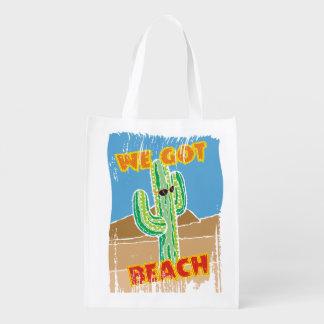 Funny southwestern desert cactus we got beach reusable grocery bag