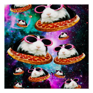 Funny space guinea pig poster