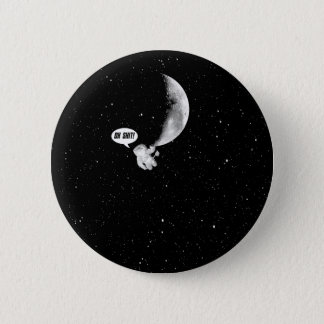 Funny Spaceman and The Moon 2 Inch Round Button