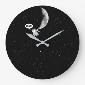 Funny Spaceman and The Moon Large Clock
