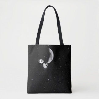 Funny Spaceman and The Moon Tote Bag