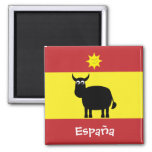 Funny Spanish Bull & Sun España Flag Magnet