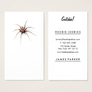 Funny spider office prank plain white professional business card