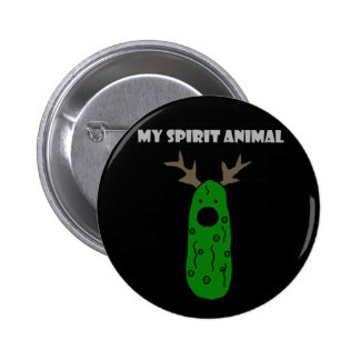 Funny Spirit Animal Pickle with Antlers 2 Inch Round Button