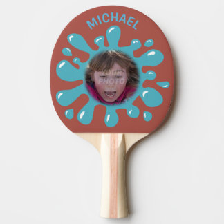 Funny Splatter Squish Blue Goo Custom Name Photo Ping Pong Paddle
