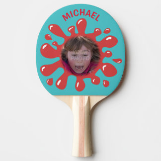 Funny Splatter Squish Red Goo Custom Name Photo Ping Pong Paddle