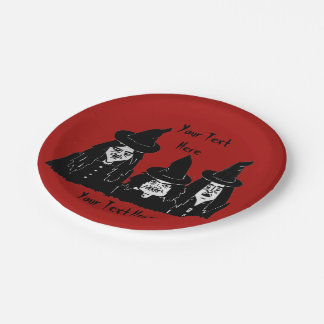 funny spooky black witches scary halloween fun paper plate