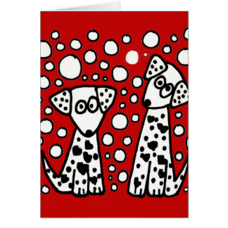 Funny Spotted Dogs with Hearts Card