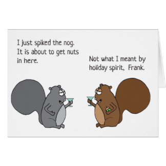 Funny Squirrel Christmas Card Egg Nog