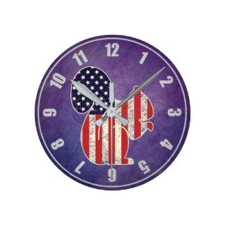 Funny Squirrel Distressed American Flag Patriotic Round Clock
