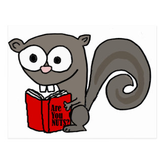 Funny Squirrel Reading Are you Nuts Book Postcard