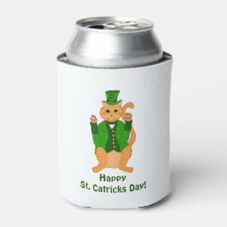 Funny St. Catrick's Day Cat Leprechaun Can Cooler