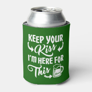 Funny St Paddys Day Kiss-Be-Gone | Irish Beer Can Cooler