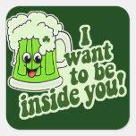 Funny St Patricks Day Irish Square Stickers