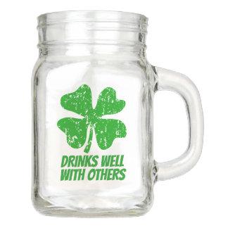 Funny St Patrick's Day mason jar mug with handle