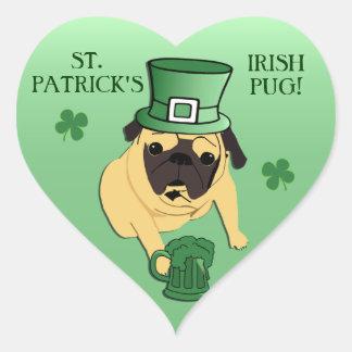 Funny St. Patrick's Irish Pug Heart Sticker