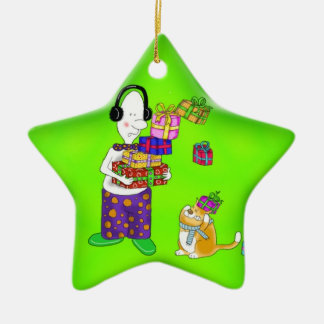 funny star decoration with cat Double-Sided star ceramic christmas ornament